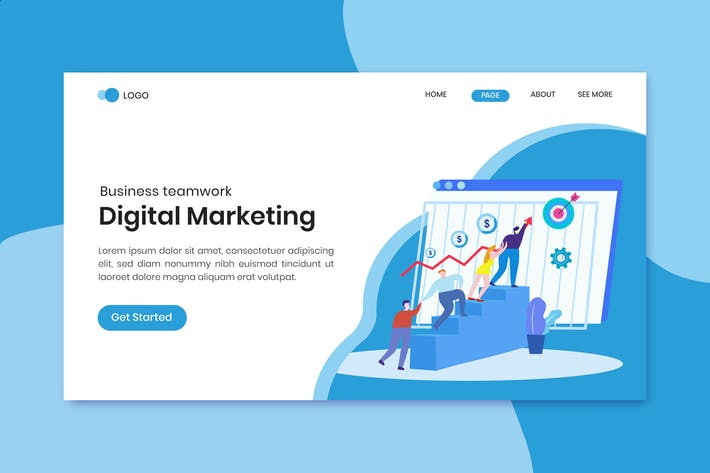 Digital marketing team landing page template