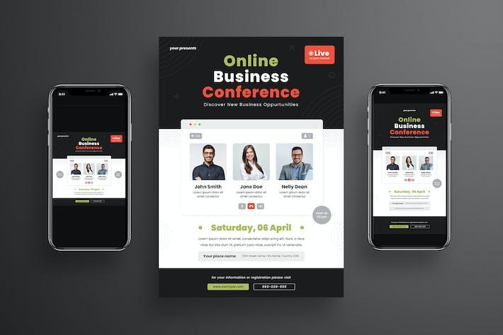 Thumbnail for Ensemble de dépliant de conférence d'affaires en ligne