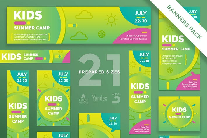 Thumbnail for Kids Summer Camp Banner Pack Template