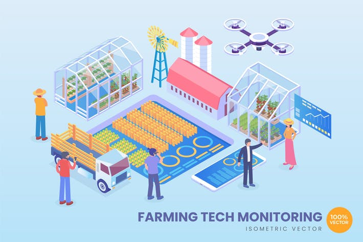 Thumbnail for Isometric Farming Tech Monitoring Vector Concept