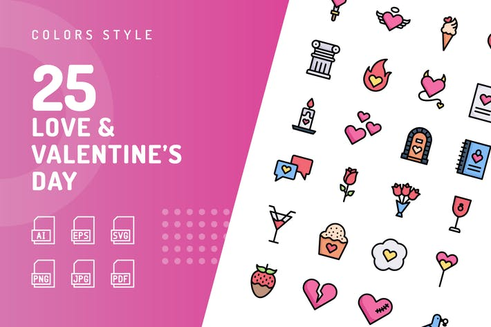Thumbnail for Love & Valentine's Day Color Icons