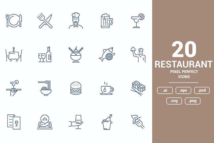 Thumbnail for Flat line icons design - Restaurant