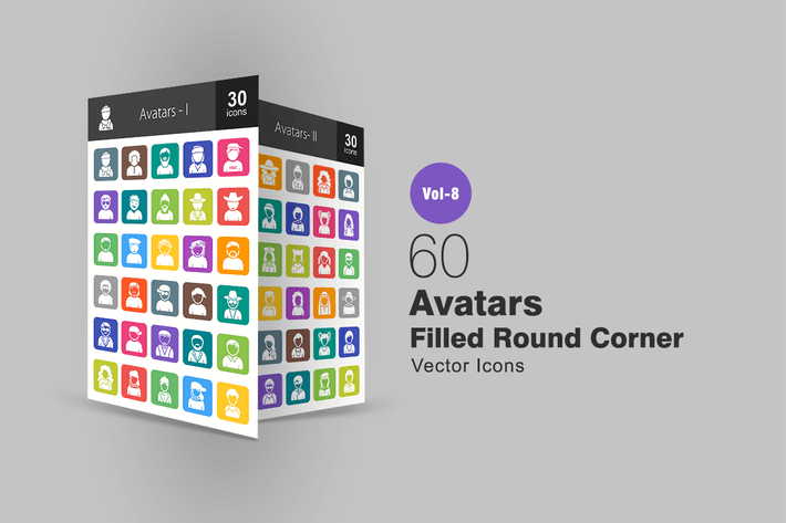 Thumbnail for 60 Avatars Filled Round Corner Icons
