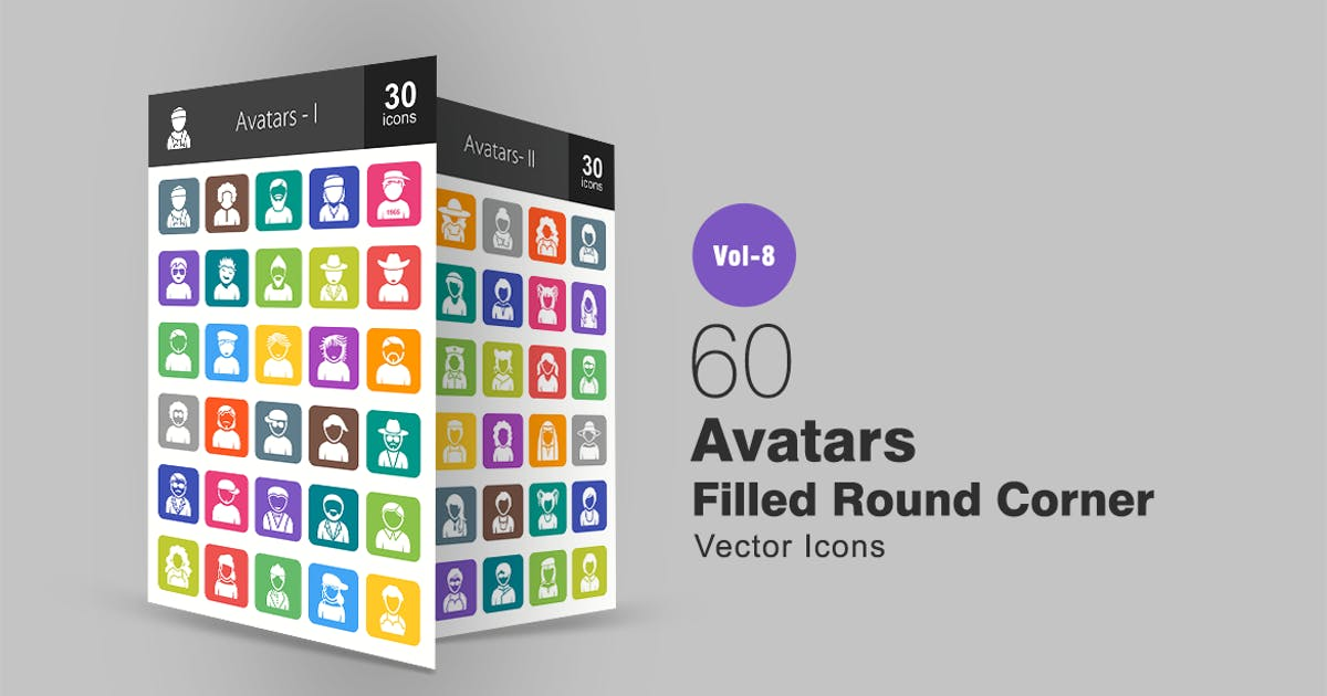 Download 60 Avatars Filled Round Corner Icons by Unknow