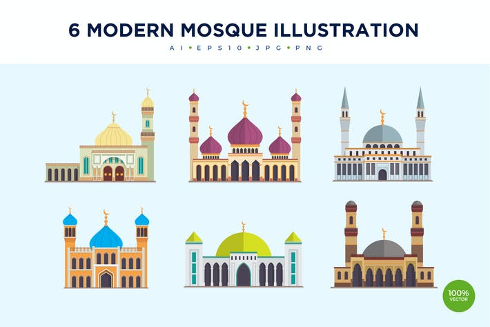 Thumbnail for 6 Modern Mosque Vector Illustration Set