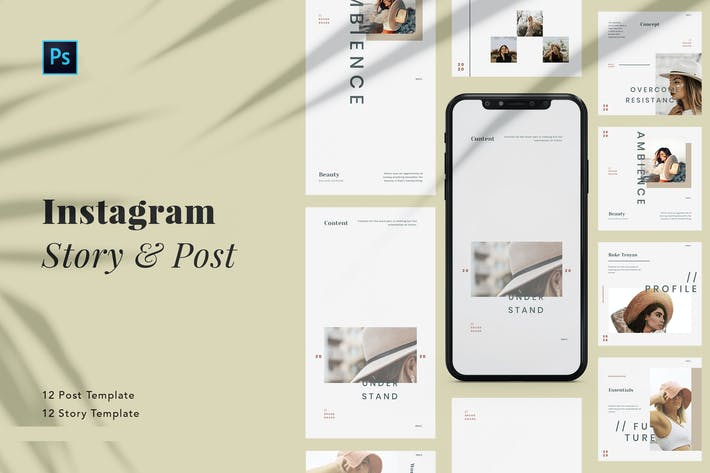 Thumbnail for Minimalist Beauty Instagram Post & Stories PSD