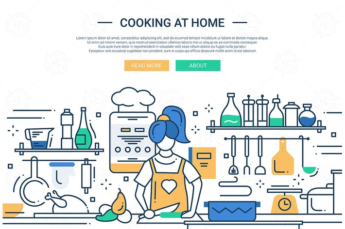 Thumbnail for Girl cooking at home - line design website banner