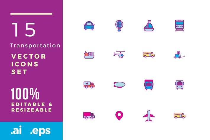 Thumbnail for 15 Transportation vector icons