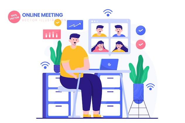 Online Meeting Flat Vector Illustration