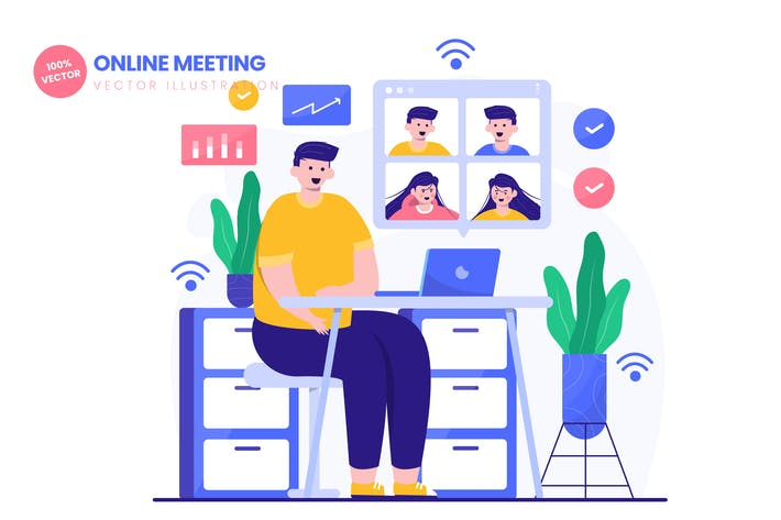 Thumbnail for Online Meeting Flat Vector Illustration