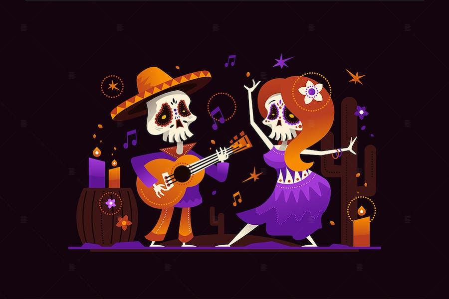 Dia de los Muertos - flat design illustration