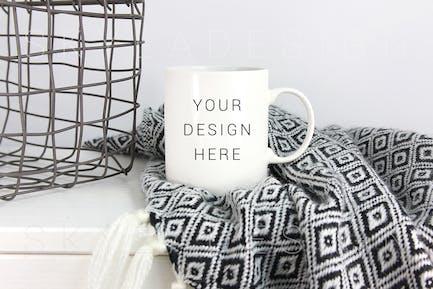 White coffee cup mockup blanket