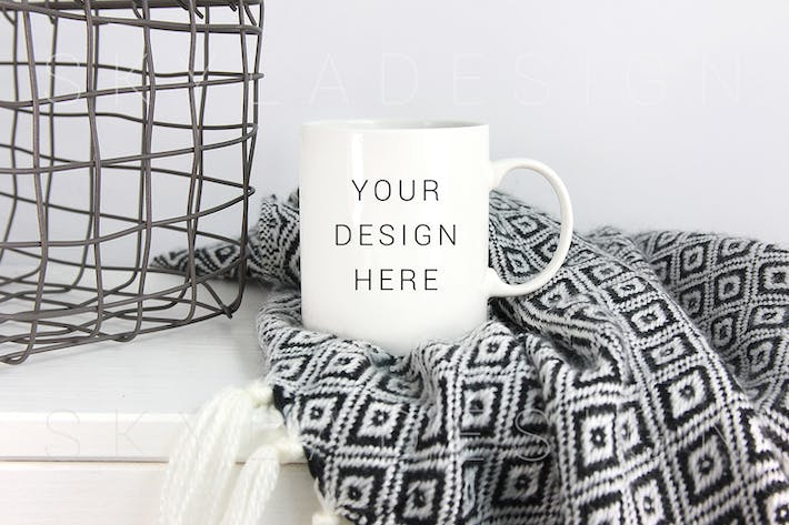 Thumbnail for White coffee cup mockup blanket