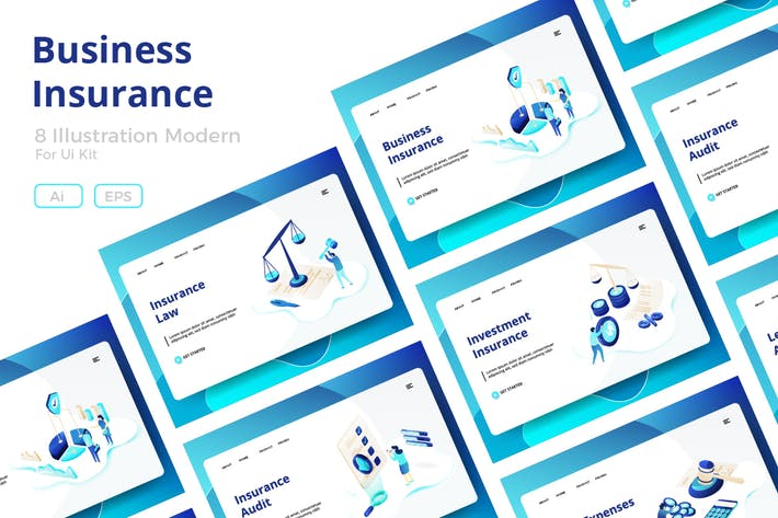 Business Insurance sets Illustration