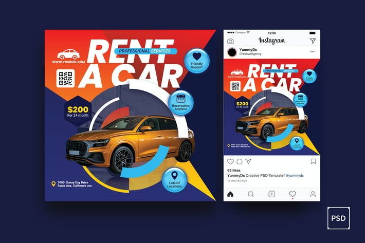 Thumbnail for Rent a Car Square Flyer & Instagram Post