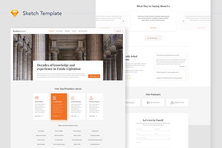 Starbus Lawyer Website Landing Sketch Template