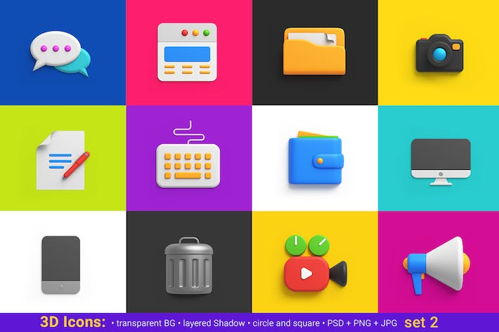Thumbnail for icons pack 3D style Universal Friendly