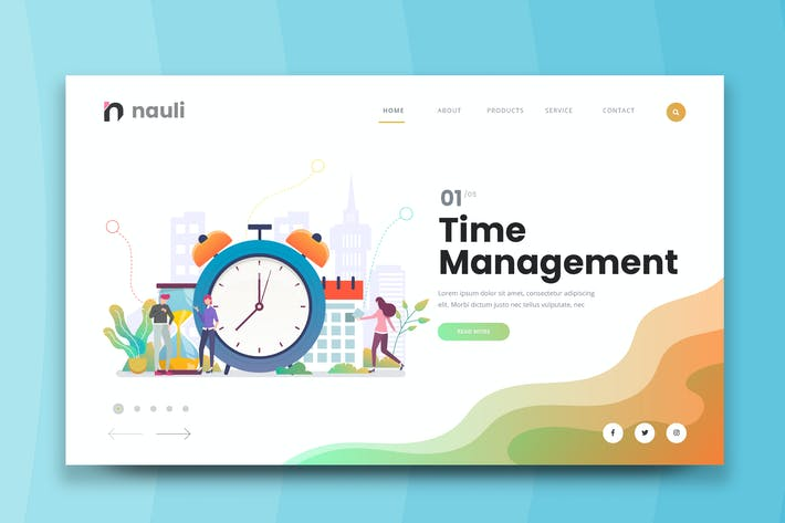 Thumbnail for Time Management Web PSD and AI Vector Template