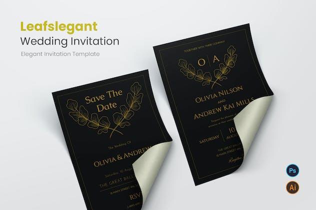 Leafslegant Wedding Invitation