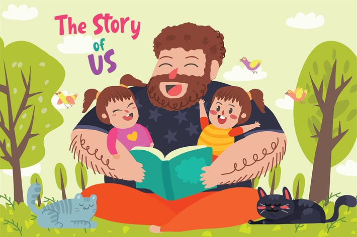 Thumbnail for Story Teller Dad - Vector Illustration