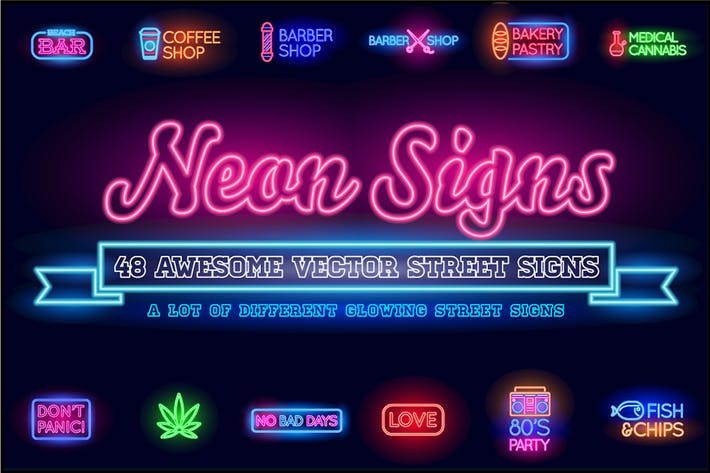 Cover Image For Neon Street Signs with 7 Fonts (OTF)
