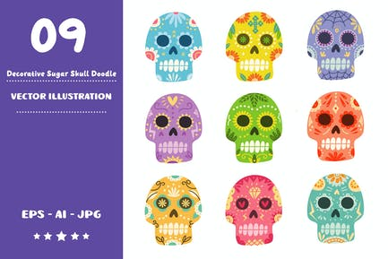 Decorative Sugar Skull Doodle