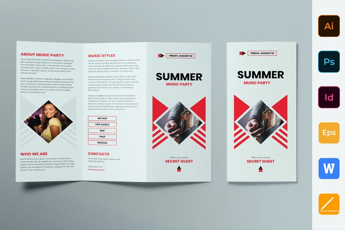 Thumbnail for Summer Music Party Brochure Trifold