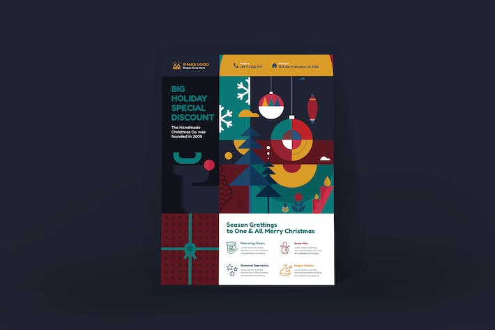 Thumbnail for Merry Christmas Poster PSD Template
