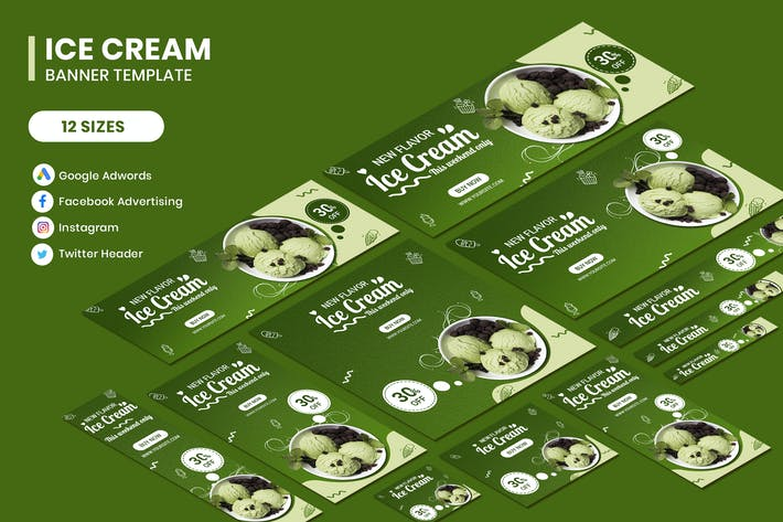 Thumbnail for Ice Cream Google Adwords Banner Template