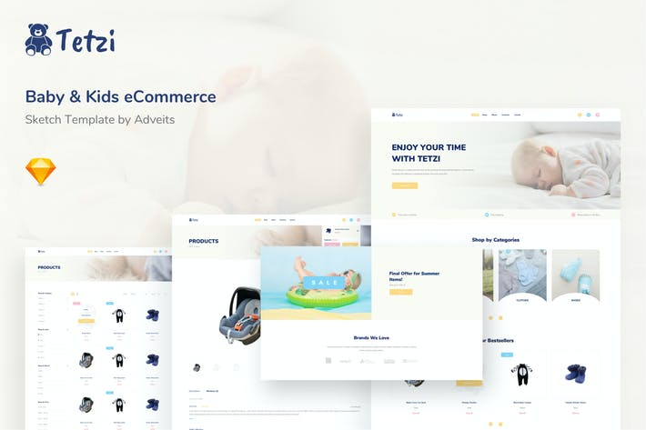 Thumbnail for Tetzi - Baby & Kids eCommerce Sketch Template