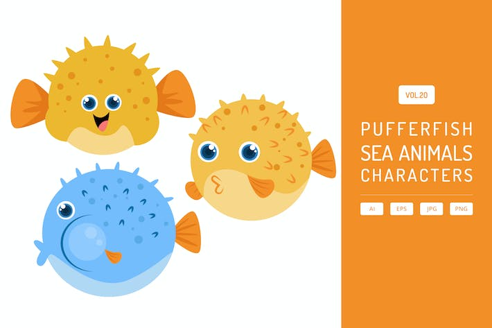 Thumbnail for Cute Pufferfish - Sea Animals Characters Vol.20
