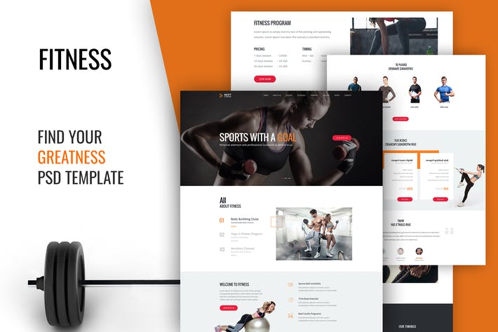 Thumbnail for Fitness Gym Body Building Club PSD Template