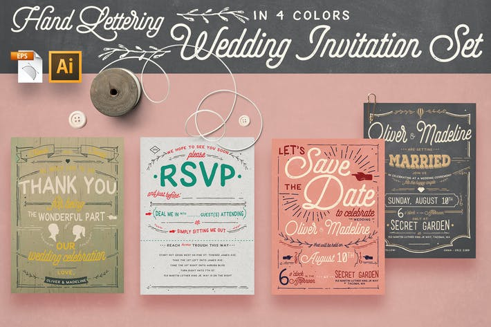 Vintage Hand Lettering Invitation Set