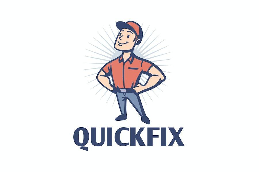 Quick Fix - Vintage Retro Repairman Mascot Loo