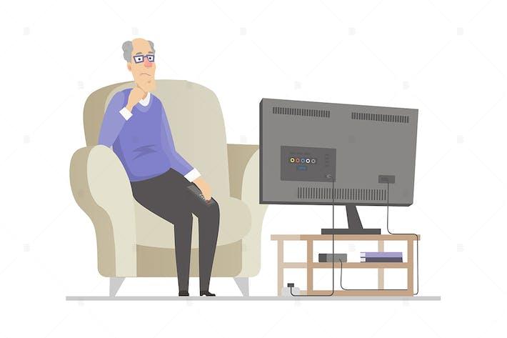 Senior man watching TV - flat design illustration