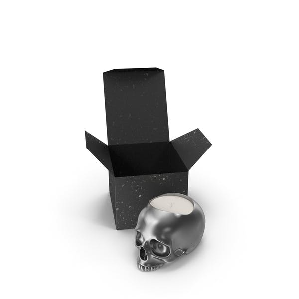 Silver Skull Head Candle with Box
