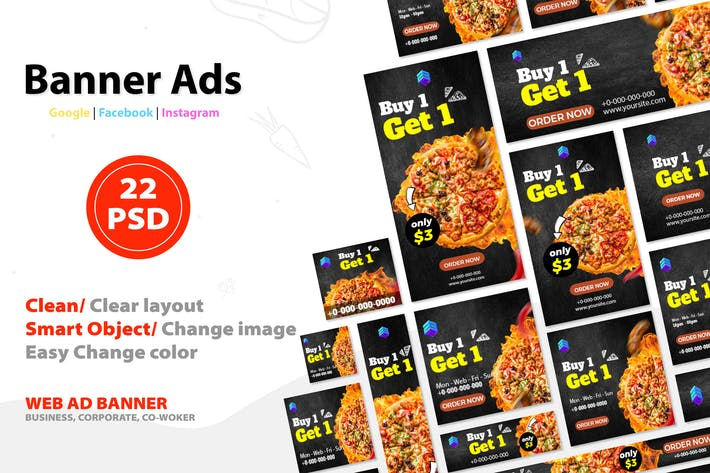 Thumbnail for Food Google Ads Web Banner V.3 - FTr