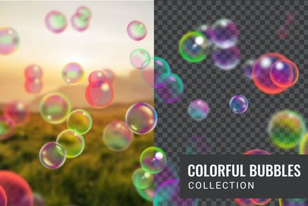 Colorful soap bubble collection