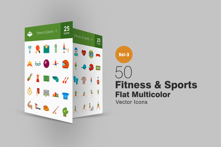 Thumbnail for 50 Fitness & Sports Flat Multicolor Icons