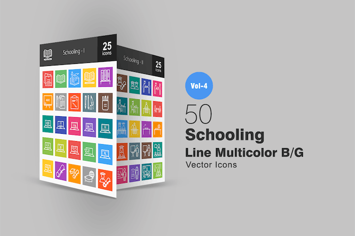 Thumbnail for 50 Schooling Line Multicolor Icons