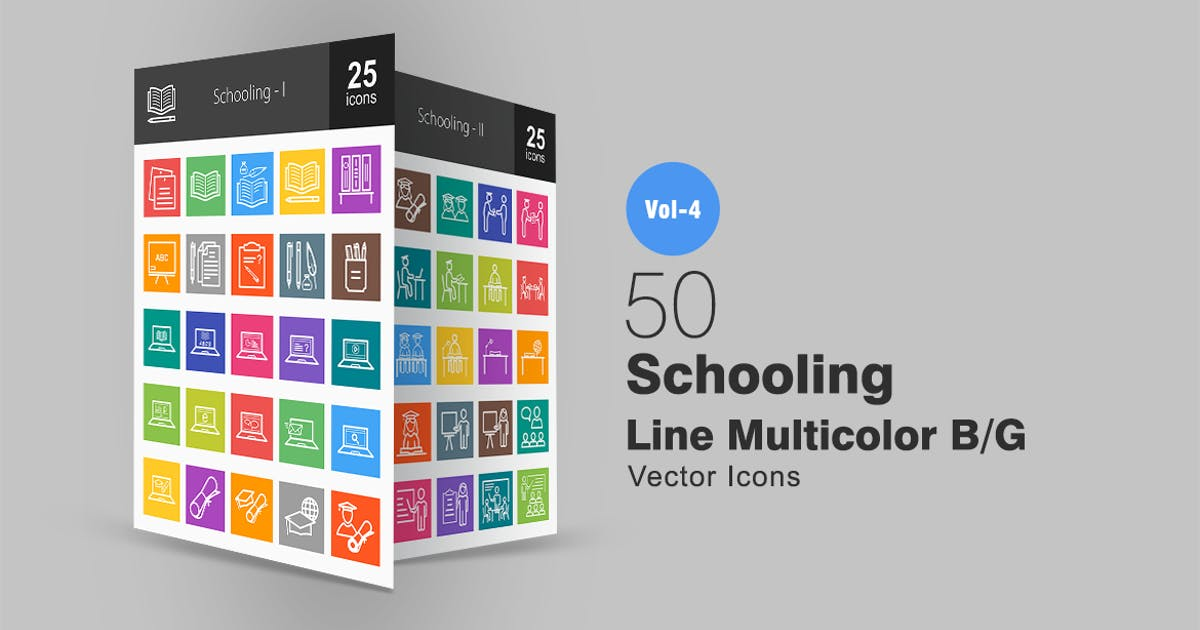 Download 50 Schooling Line Multicolor Icons by IconBunny