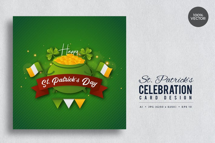 Thumbnail for St. Patrick's Day Square Vector Card Vol.8