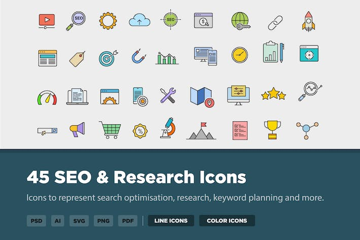 Thumbnail for 45 SEO Optimisation & Research Icons