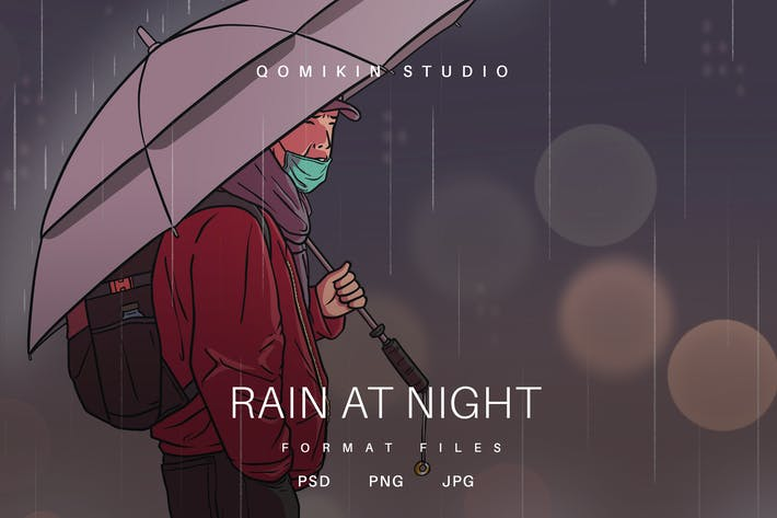 Thumbnail for Rain at Night Illustration