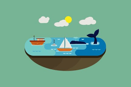 Ocean Flat Landscape - Illustration BG