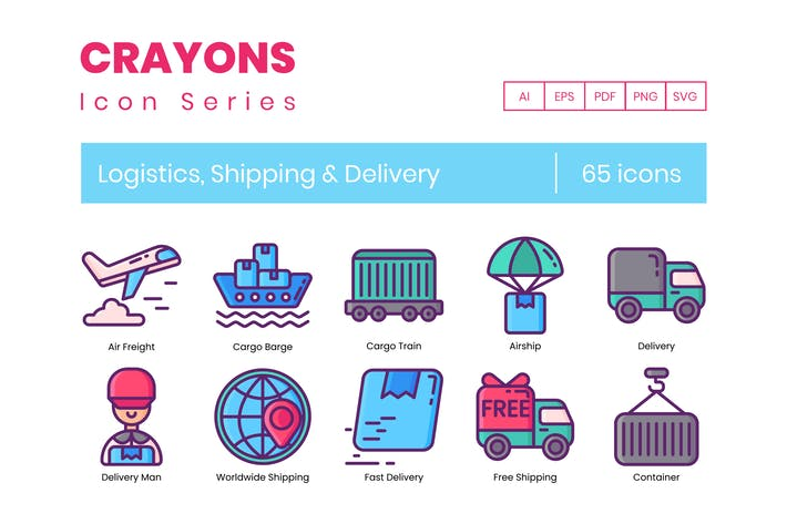 Thumbnail for 65 Logistics & Shipping Icons | Crayons Series