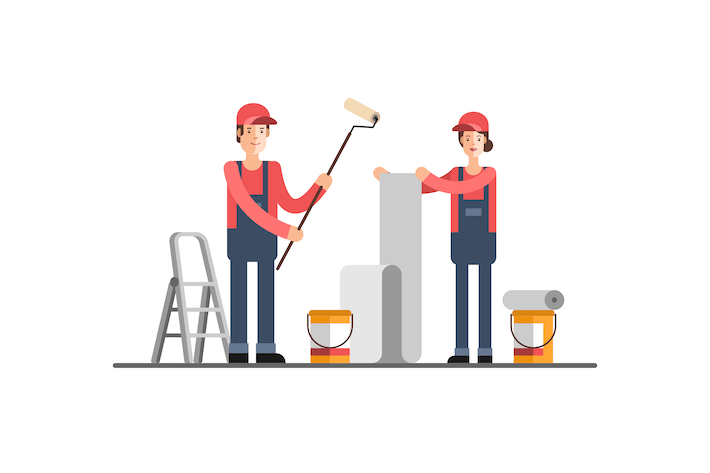 Thumbnail for Young Woman and Man Worker Construction Company