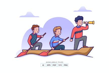 Teamwork Ruderboot Illustration