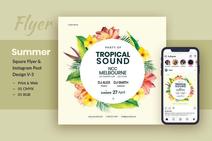 Thumbnail for Tropical Sound Flyer & Instagram Post Template V-2