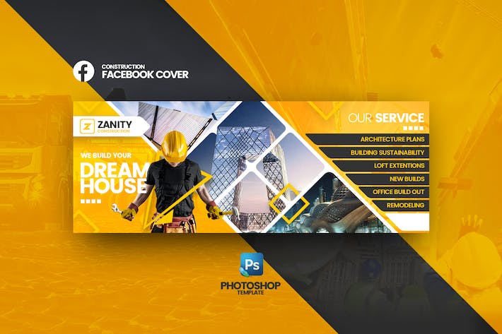 Zanity - Construction Facebook Cover Template